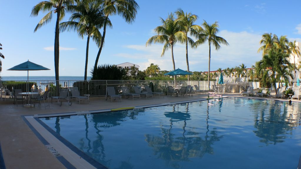 The stunning pool of the condo! Fabulous view of the bay from the pool deck!