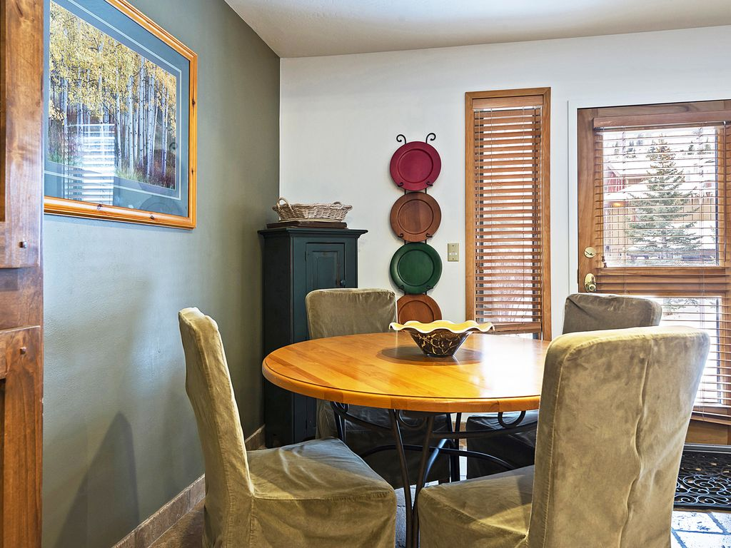 Dining area - with door leading to private deck with Hot tub and  BBQ