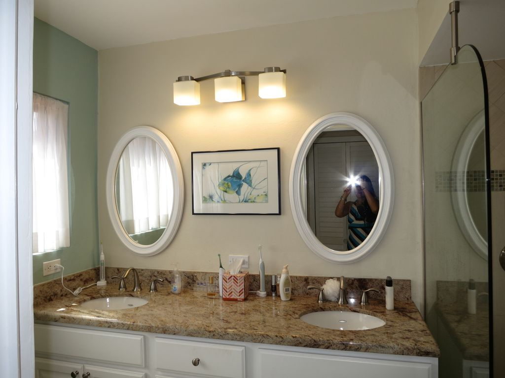 Two vanity Master bathroom  with granite