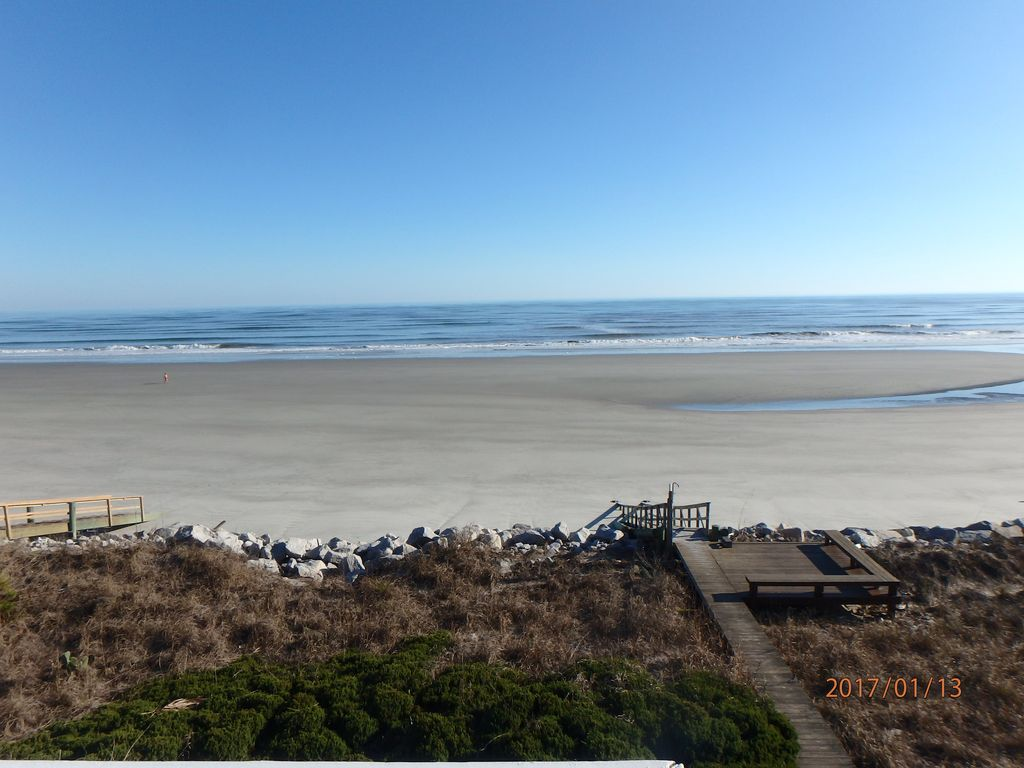 View of private beach access and beach from 3rd story deck