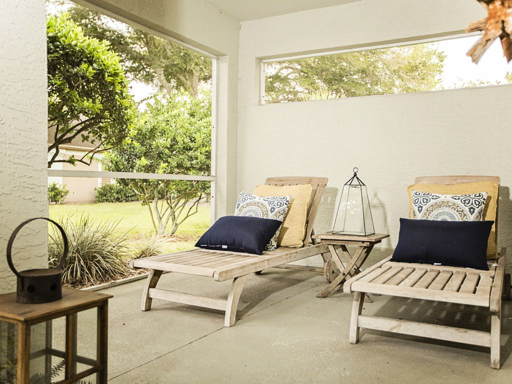 Read a nice book and enjoy our teak loungers on the patio