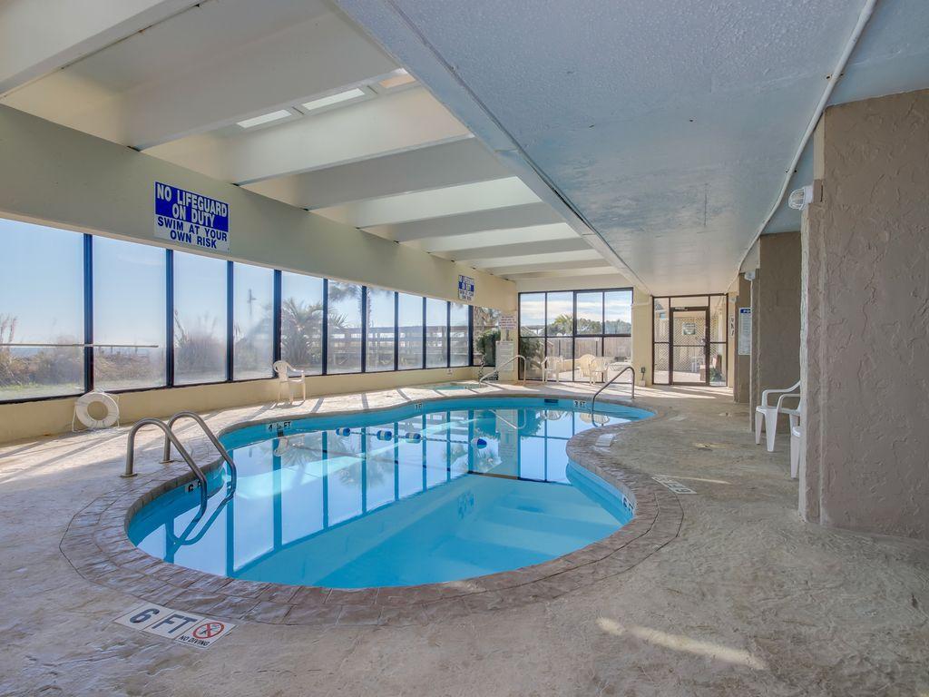 indoor heated pool and hot tub!