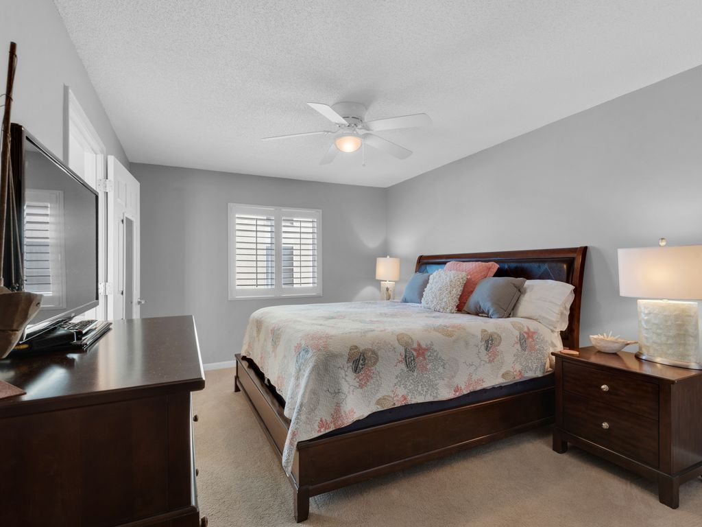 Comfortable king-sized bed in master bedroom