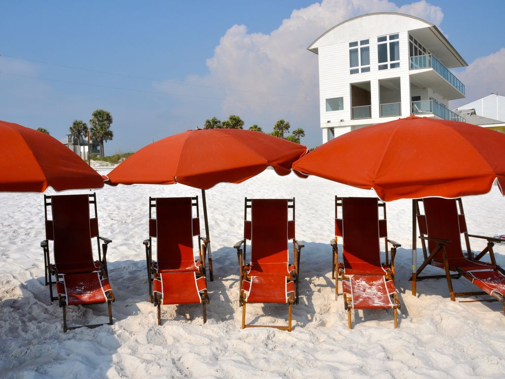 Have beach chairs and umbrellas there waitng for your morning coffee.