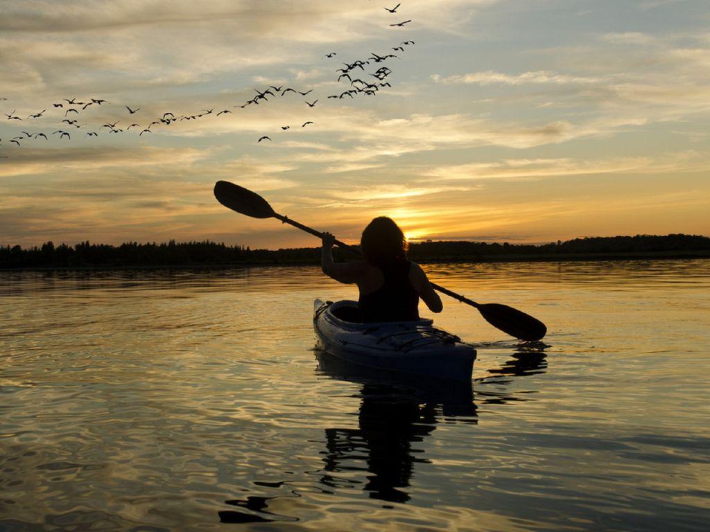 A peaceful sunset paddle