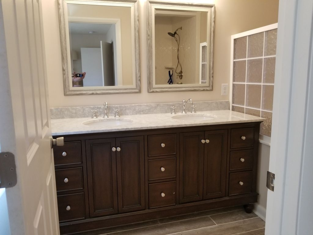Updated original master bath double vanity