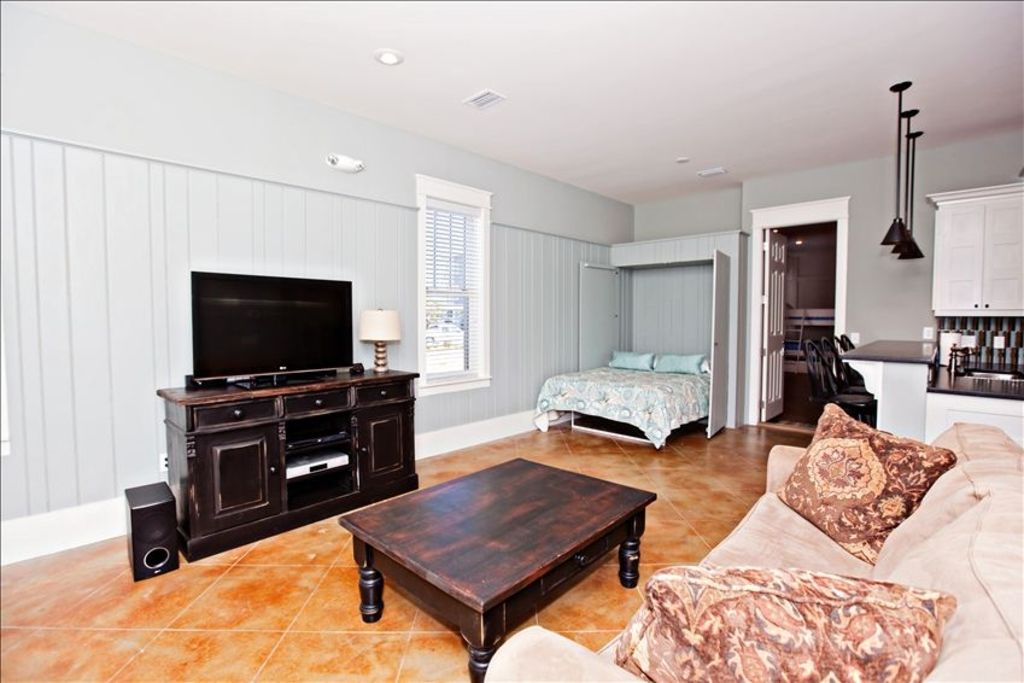 In-law suite with Queen Murphy bed queen sofa sleeper and fully stocked kitchen.