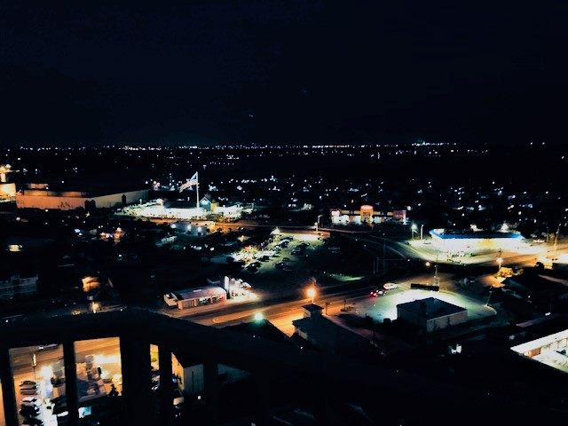 Views from the front balcony at night
