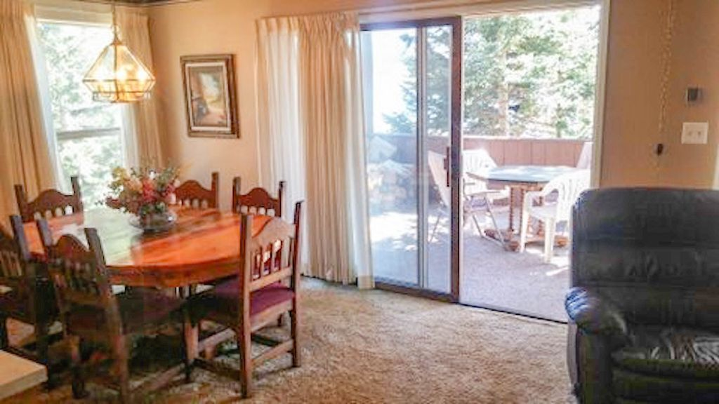 Enjoy the view through the wide sliding doors out to the deck