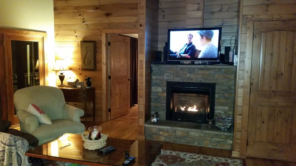 Fireplace and TV in Living Room Area on main level