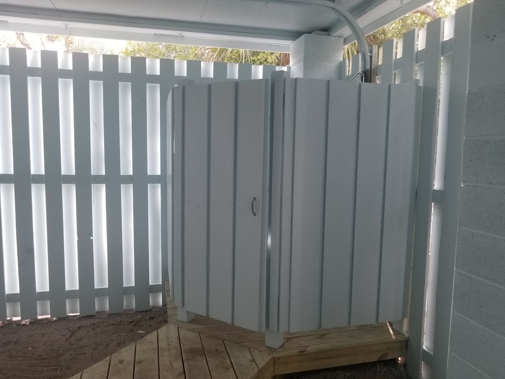 Newly added outdoor shower
