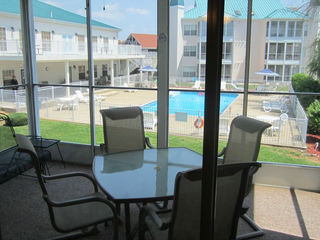 The Brookside Retreat 2 bedroom condo rental at Meadow Brook Resort, porch view.
