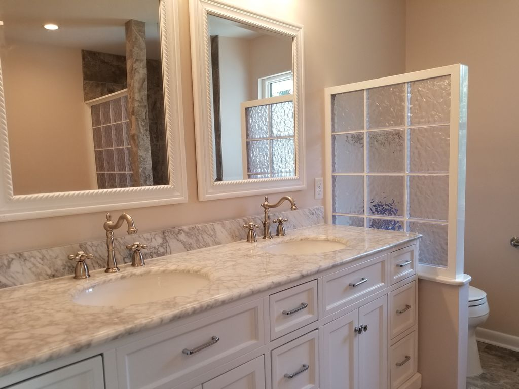 New master bath double vanity