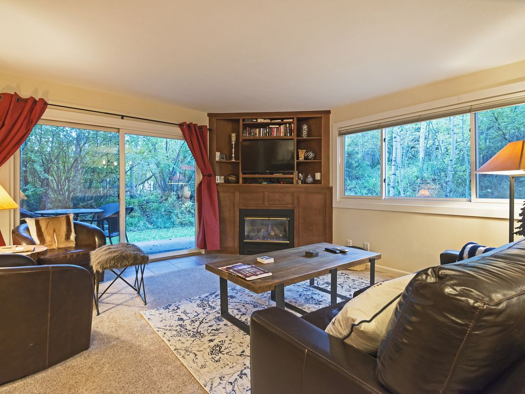 Living area with gas fireplace, flatscreen TV, outside deck.  Ten steps to slope
