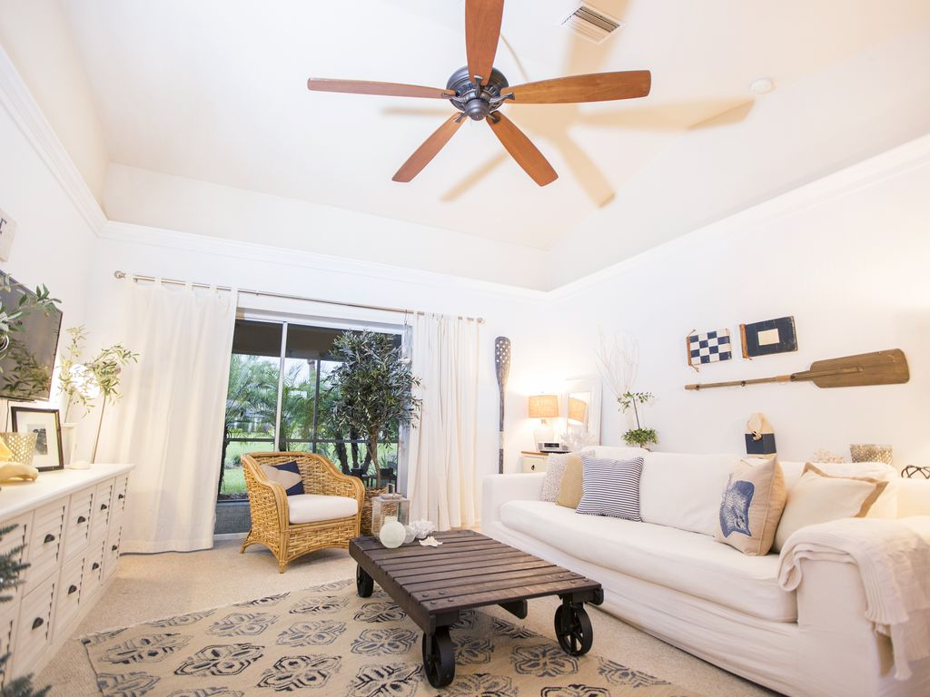 Turn on our oversize ceiling fan to enjoy a summer breeze inside