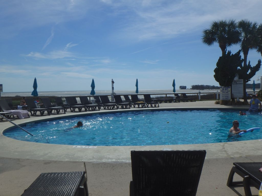 Main pool at the Cabana Club. Sweeping ocean view from pool deck