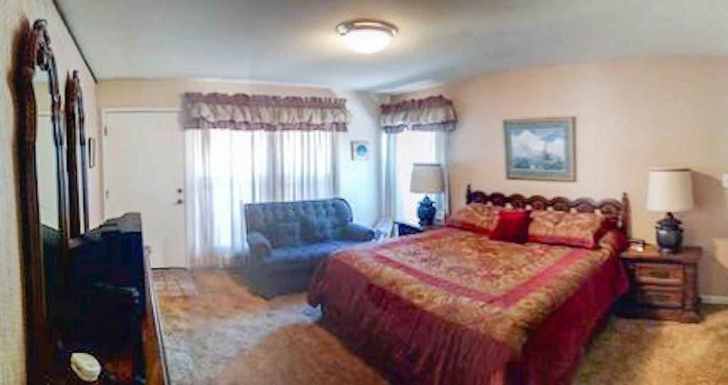 Master bedroom has a TV