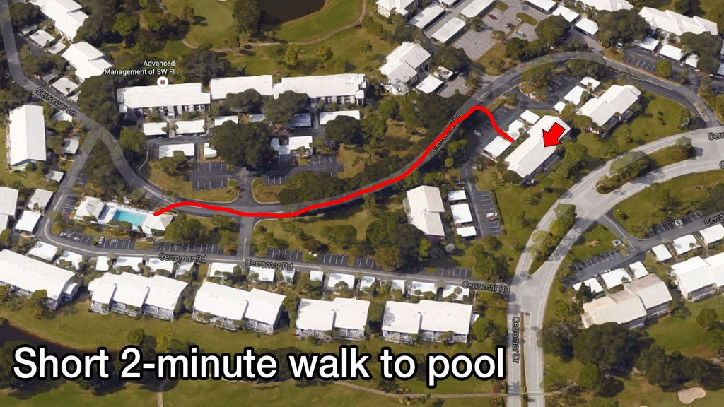 Short 2-minute walk to pool