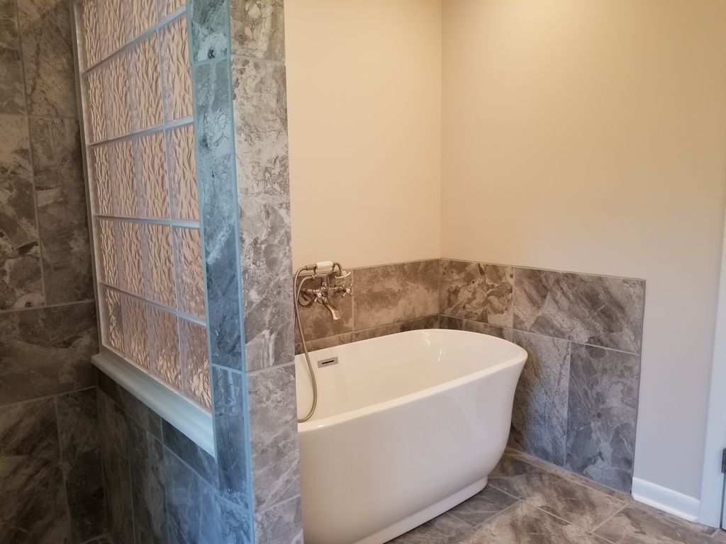 New master bath tub and shower
