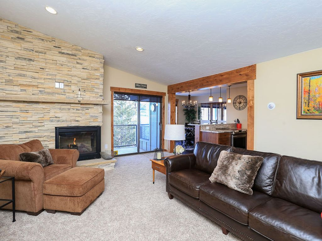 Open floor plan with beautiful gas fireplace