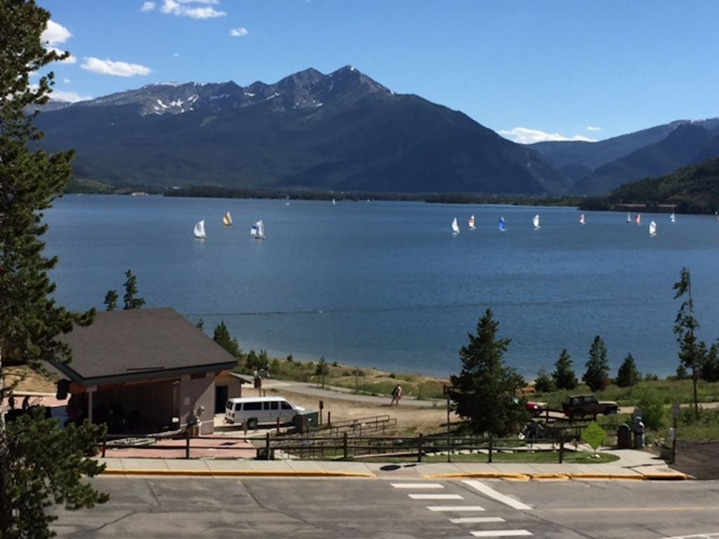 The view of Lake Dillon & amphitheater from our balcony (summer)