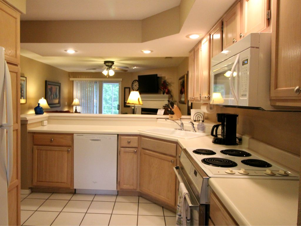 Fully stocked kitchen at the Hidden Garden condo.