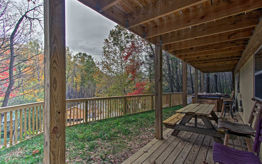 View of lower deck w/hot tub