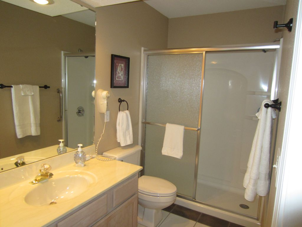 The shower stall is a hit with our guests who don't like to get in a tub.