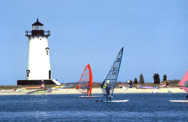 Windsurfers at the nearby Edgartown Lighthouse Beach