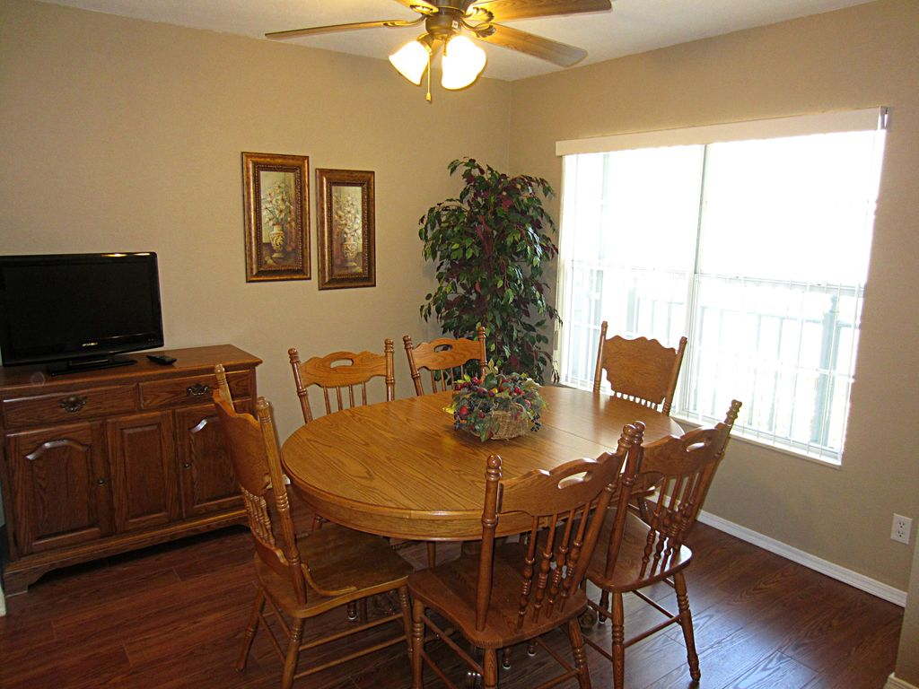 Your dining room seats 6. It has a TV. Great place for dining  & card playing.