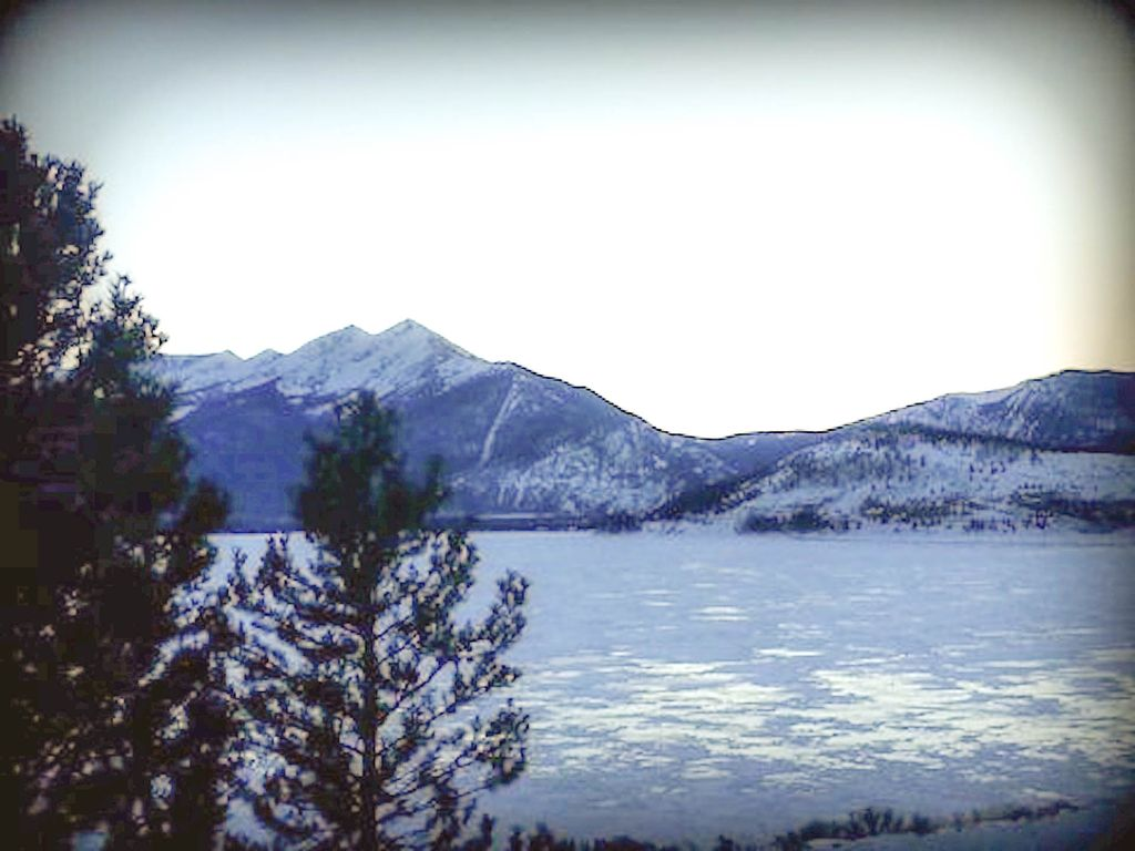 The view of the lake & mountains from our balcony