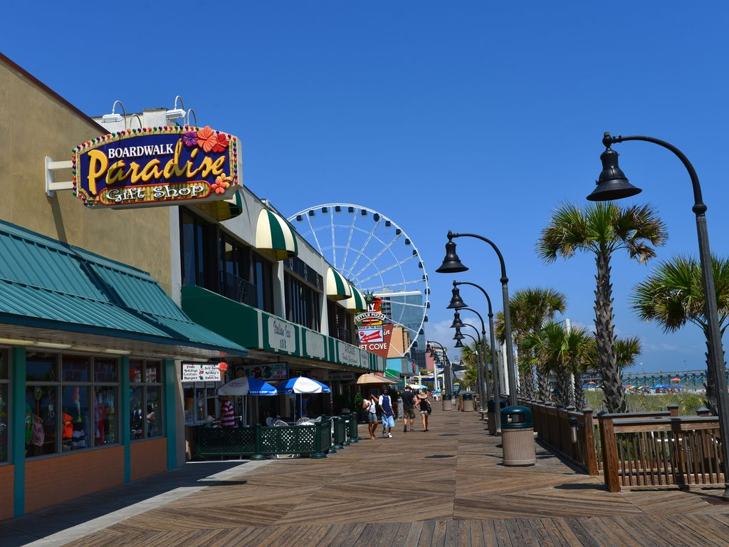 Downtown Myrtle Beach Boardwalk with Ocean views.
