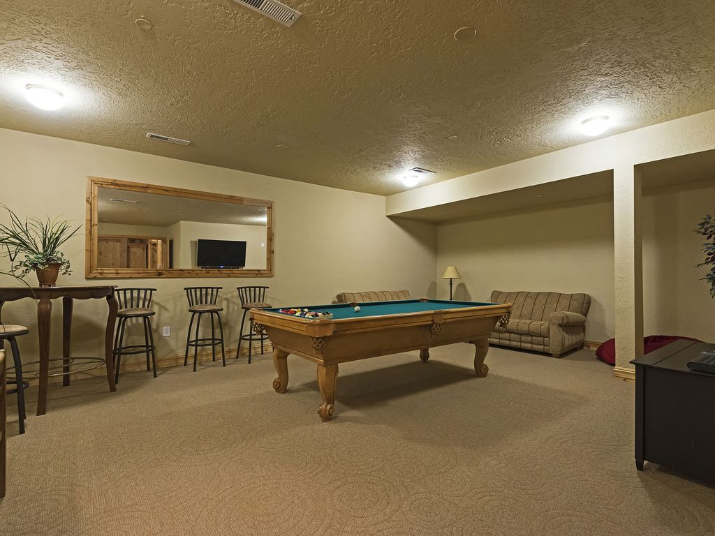 Pool table, located in building