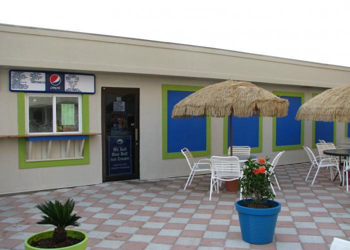 Sncak shack open during prime season by the main pool