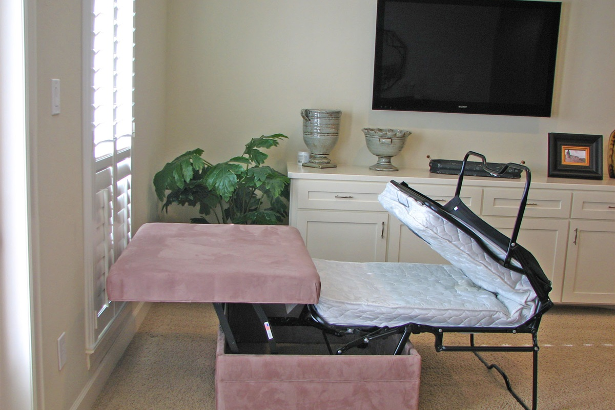 Upstairs Game Room Ottoman Opens into Twin Bed