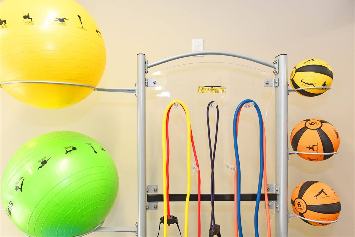 Med balls, Workout bands, and Physio-balls with workouts attached to them are sure to help you get motivated.