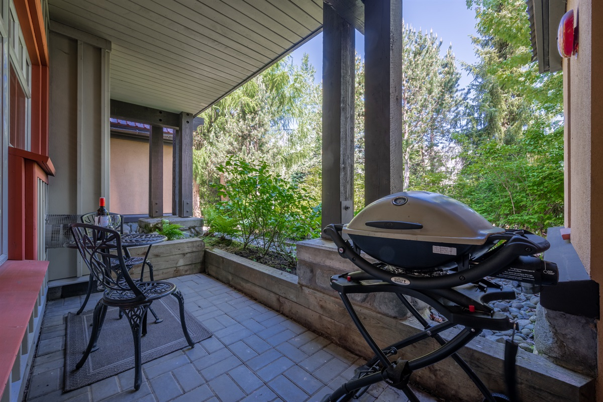Patio #1 - Seating area for two, Weber propane BBQ, beautiful forested view.