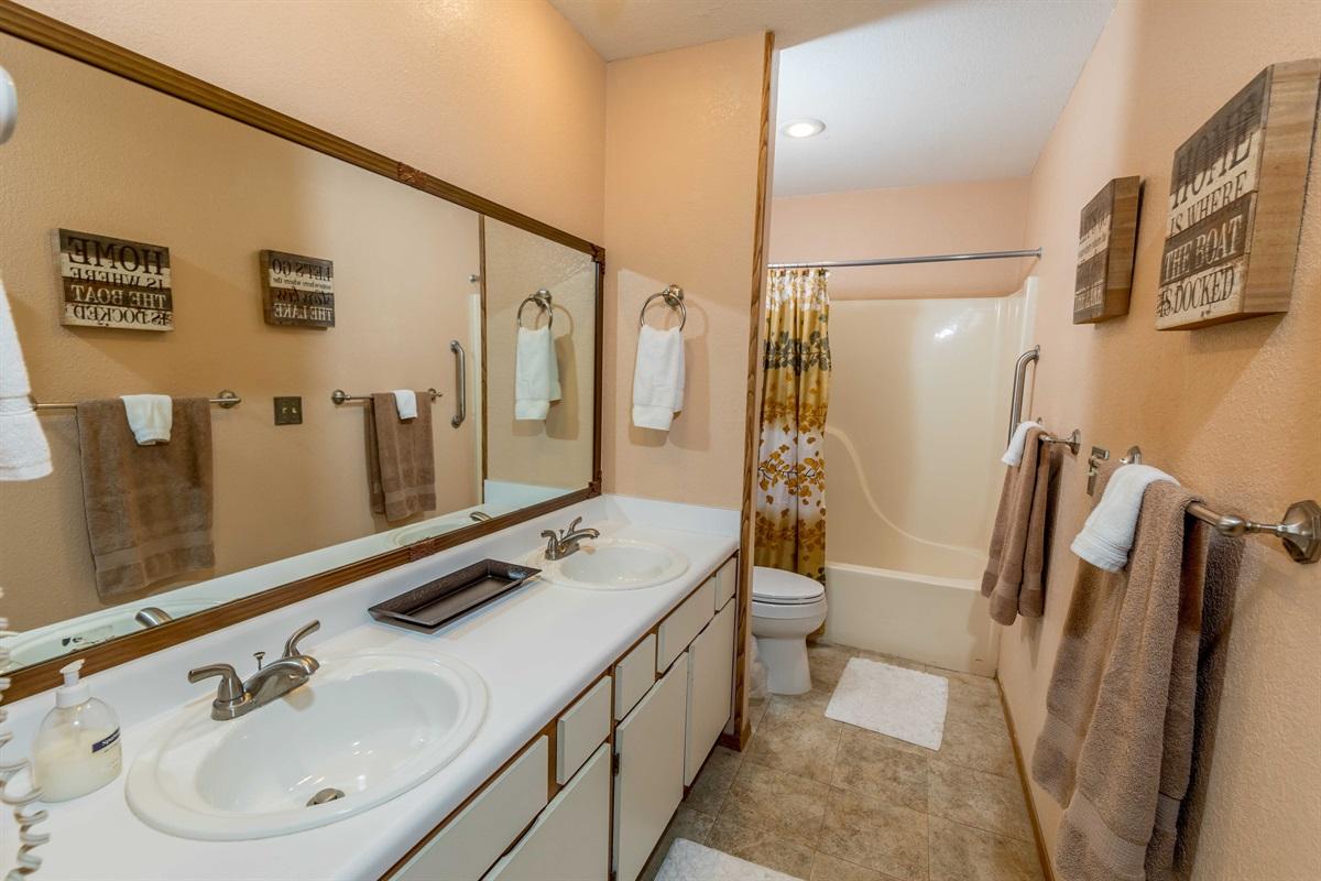 The master bath features dual vanities