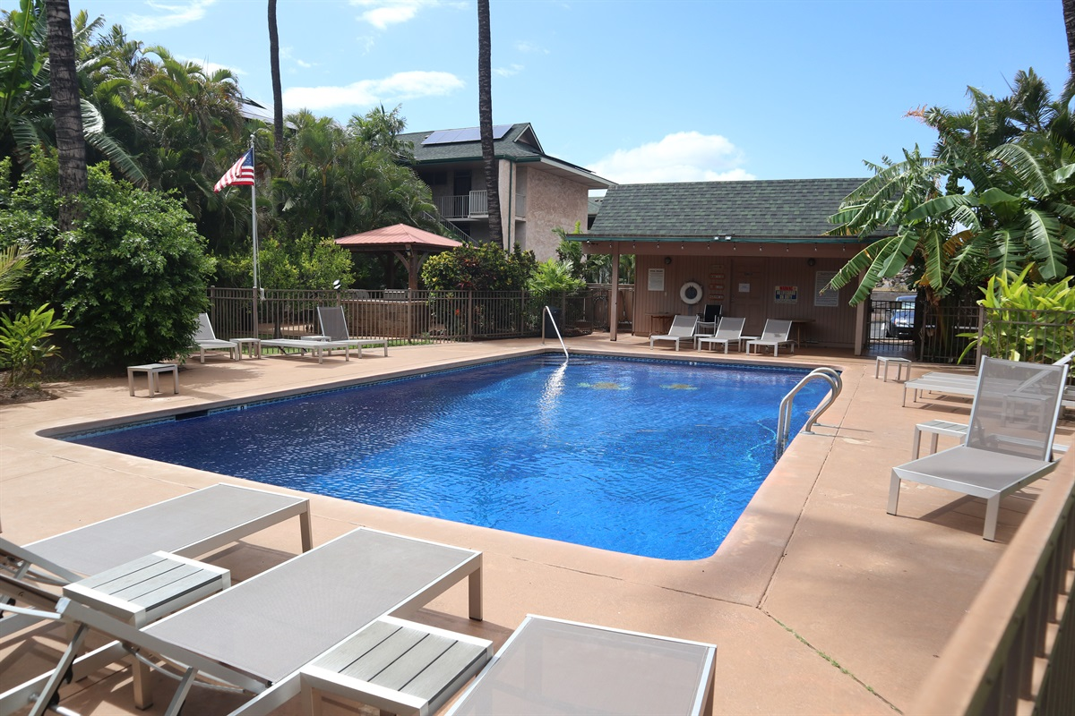 Sparkling pool with well-maintained deck