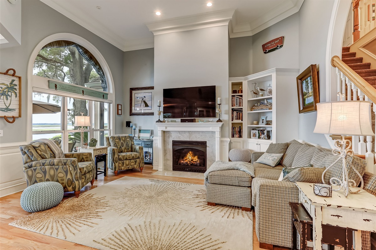 Gas Fireplace, TV With Surround Sound