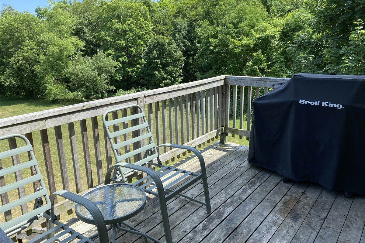 """Deer"" - Rear balcony with Broil King BBQ overlooking backyard and forest"