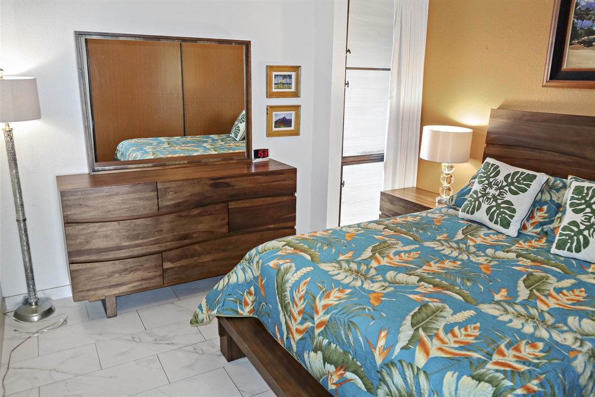 Our furnishings are a cut above -- including this hardwood bedroom set