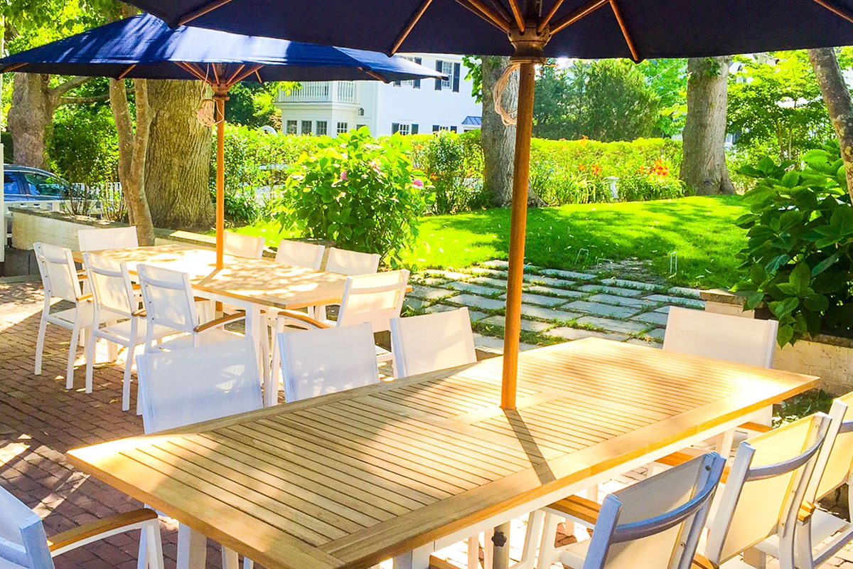 West and East 8 person patio tables