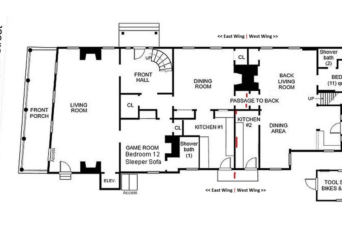 1st Floor Plan showing East & West Wings