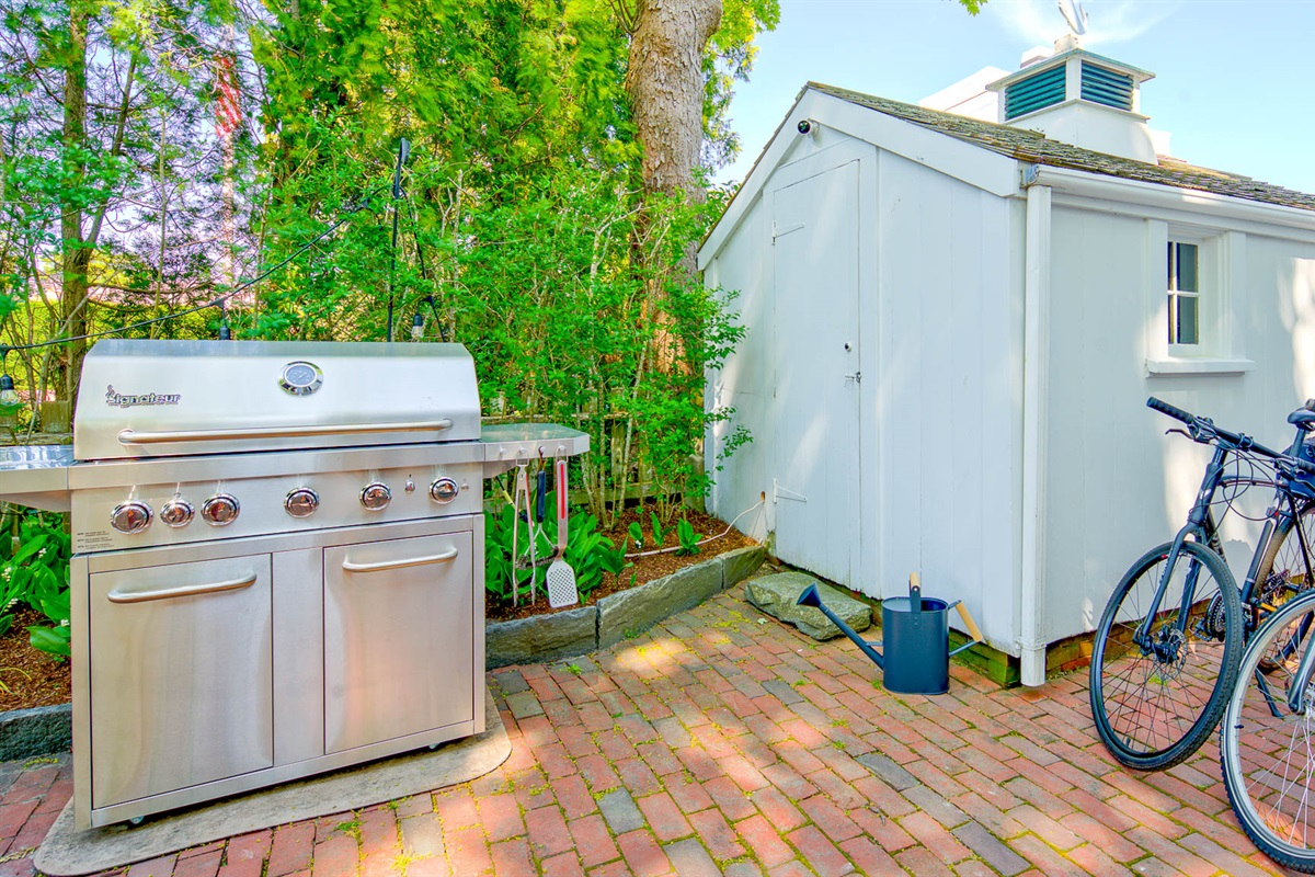 BBQ Grill and Bike Shed