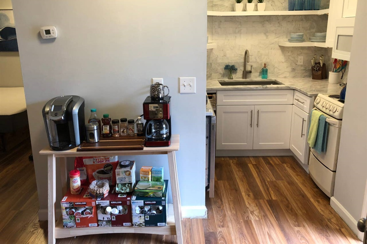 KITCHEN NOOK   The kitchen is next to the french door entry and the coffee station.   (note, Sept 2019, Keurig has been removed and replaced by coffee pot and hot water maker for tea - see coffee area pictures for what's included.)