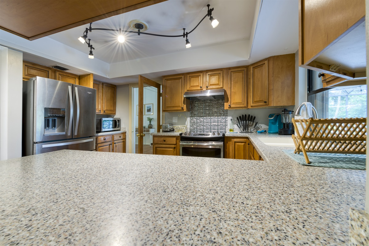 Fully equipped kitchen, stainless steel appliances, gas stove.