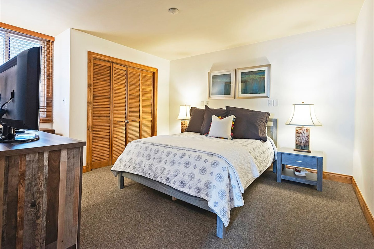 Master bedroom with queen size bed, TV, and ensuite bath