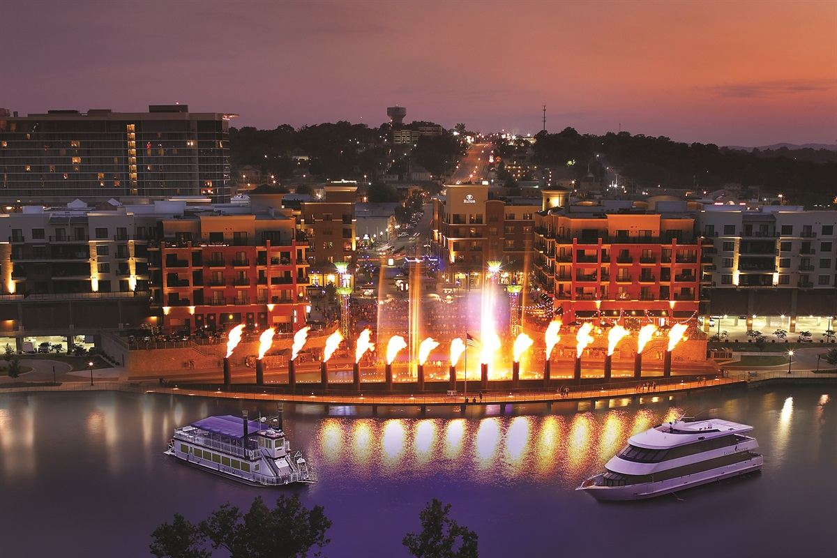 Enjoy shopping, dining, and the fire and fountain show at the Branson Landing!