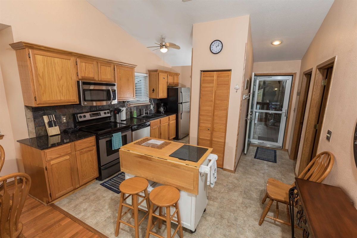 The large kitchen offers plenty of room to cook delicious meals